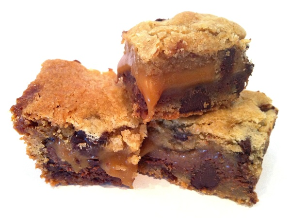 choc chip caramel nutella cookie bars