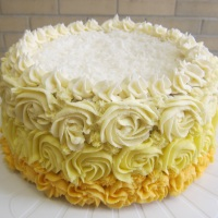 Coconut Lemon Pineapple Ombre Cake